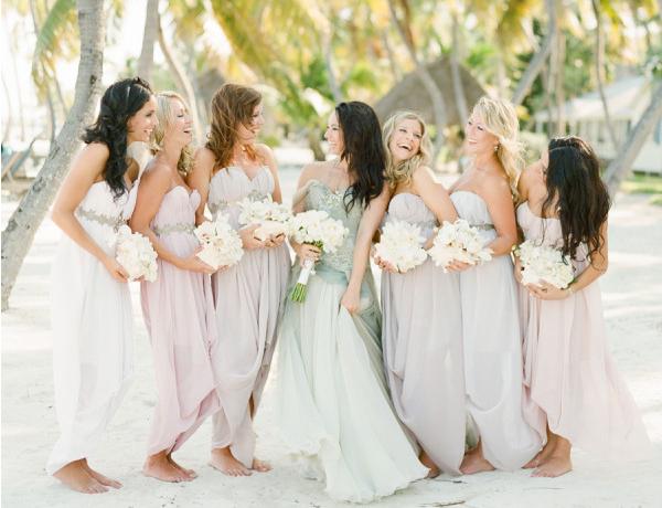 blue mermaid wedding dress and bridesmaids pink