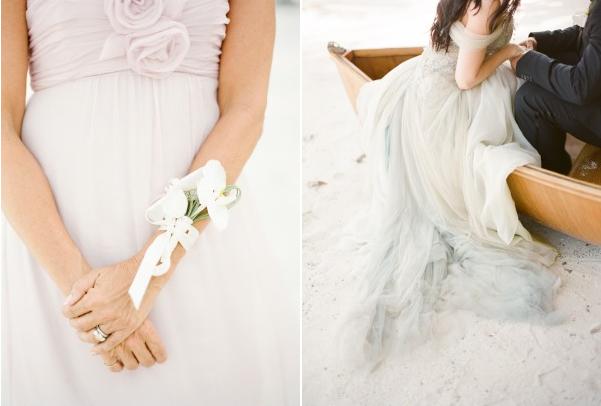 blue mermaid wedding dress bridesmaid pink