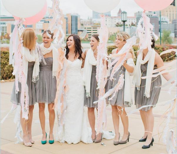 bride bridesmaids grey dresses balloons pink white scarves pashmina