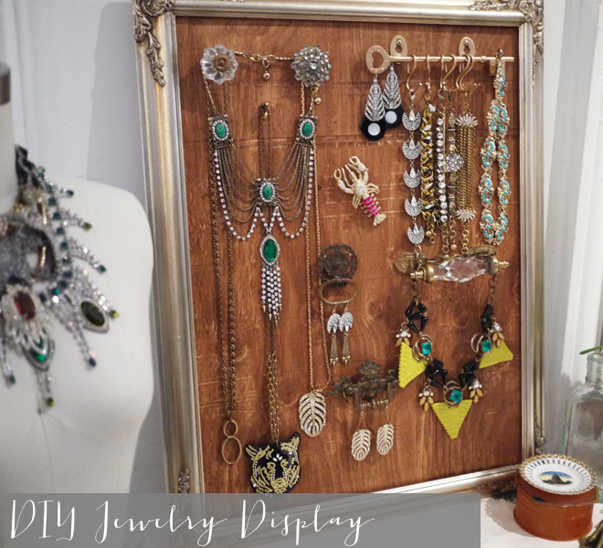 diy frame vintage jewelry display _ glitterinc.com