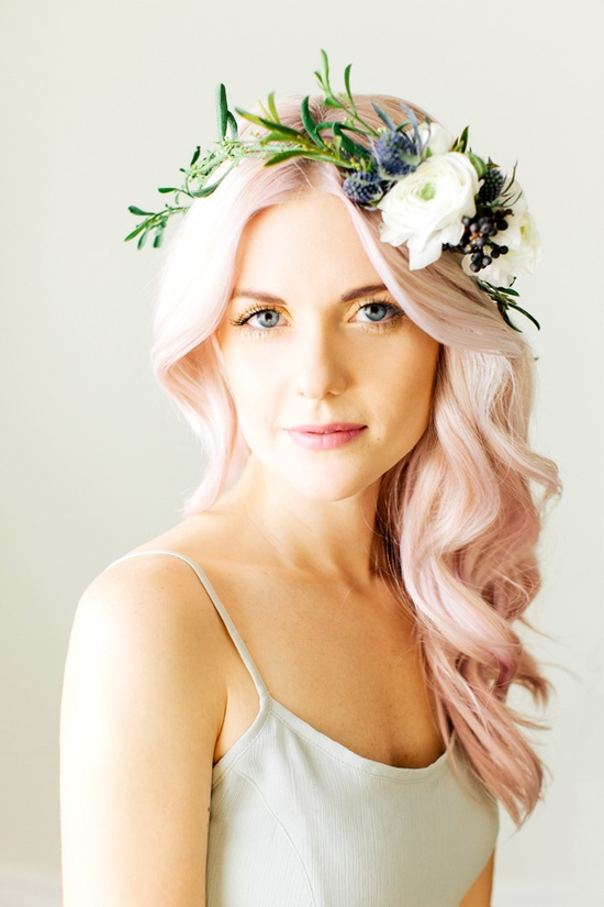 floral crown flowers pink hair