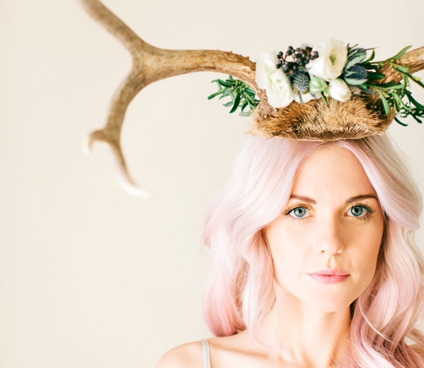 floral crown pink hair flowers