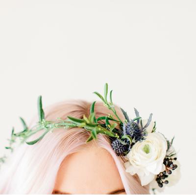Floral Crown + Soft Pink Hair