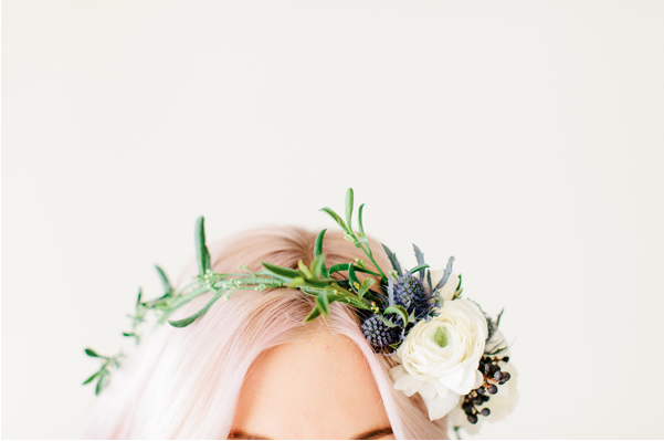 floral flower crown hair pink hair