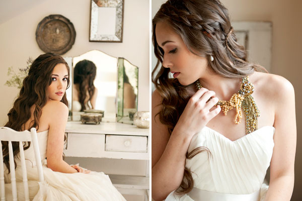 flowy layered tulle wedding dress olive peach necklace braids hair
