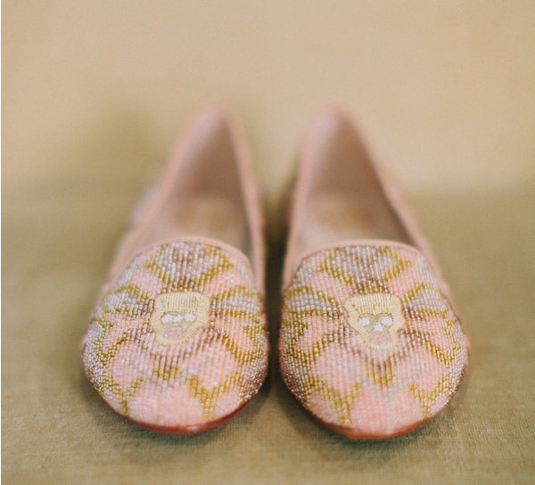 pink gold beaded skull loafers flats wedding