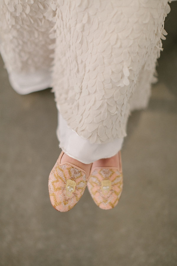 pink gold beaded skull loafers wedding dress