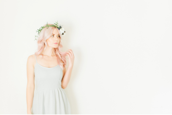 pink hair floral crown flowers dress
