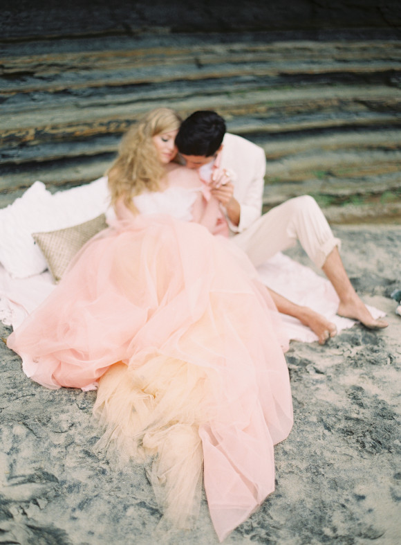 pink-orange-wedding-dress-tulle-beach-sand