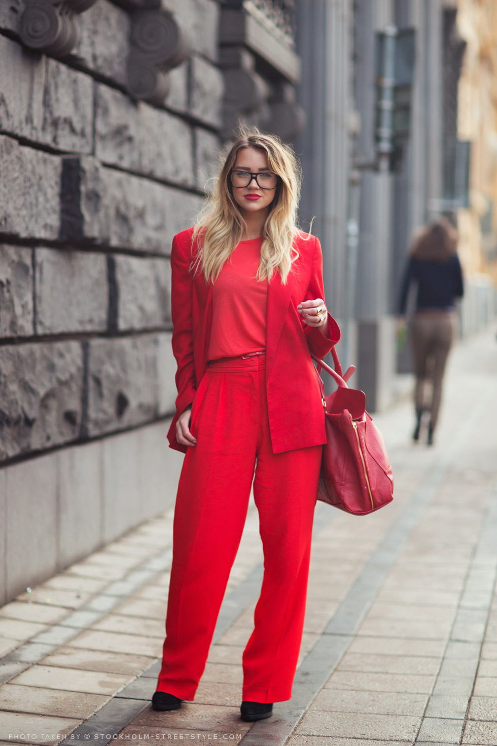 red suit red lipstick street style