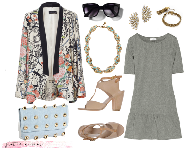 spring summer floral blazer grey dress pastels _ glitterinc.com