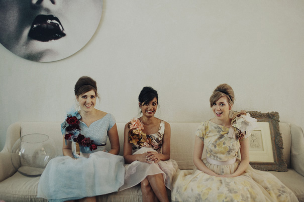 vintage floral bridesmaid dresses sitting