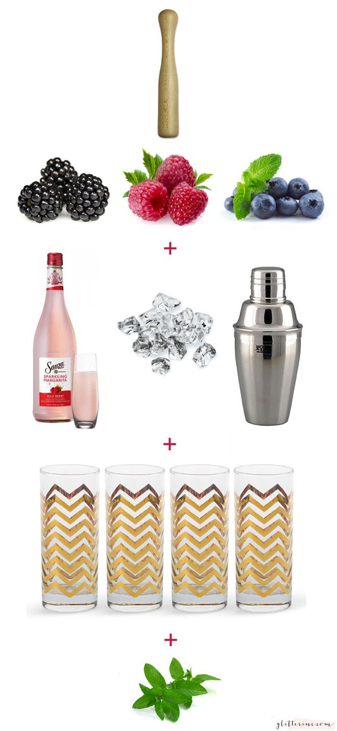 Sauza Sparkling Margaritas girls night muddle berries mint basil gold highball glasses _ glitterinc.com
