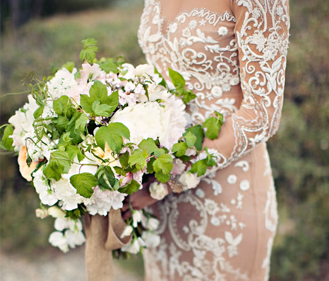 nude beaded lace wedding dress bouquet