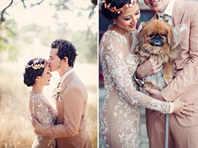 nude beaded lace wedding dress floral crown halo dog couple