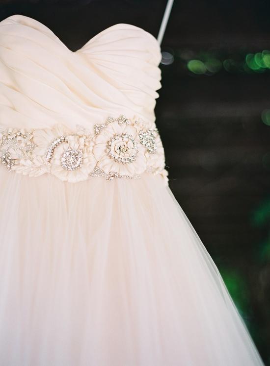 pink strapless tulle wedding