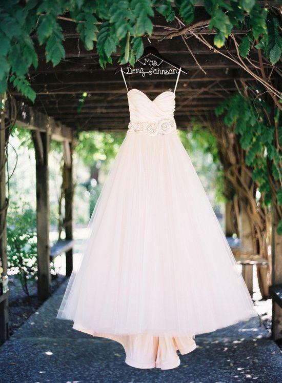 pink tulle wedding dress strapless