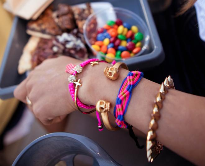 summer arm party gold skull cuff spikes friendship bracelets