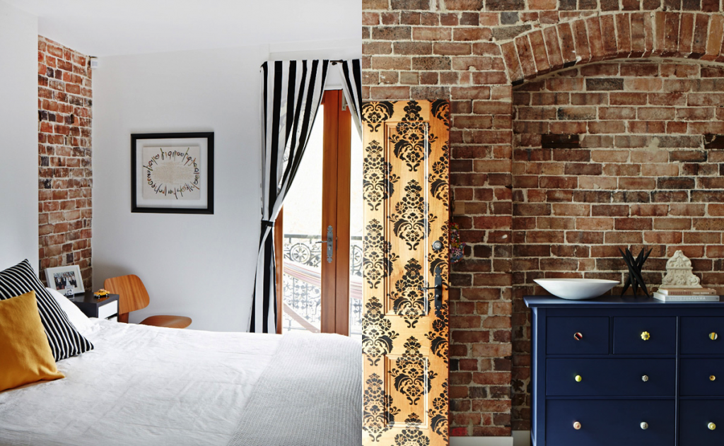 sydney modern industrail home exposed brick walls bedroom stripes paisley pattern door