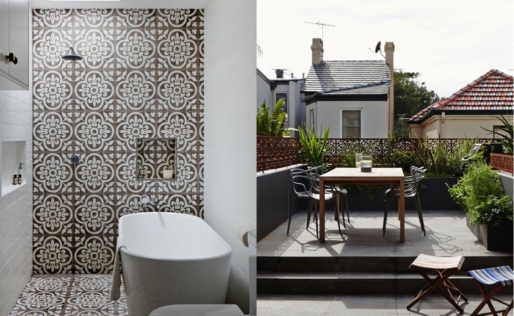sydney modern industrial home bathroom tile tub patio terrace cafe chairs