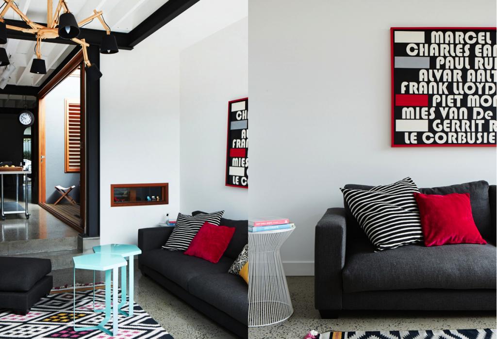 sydney modern industrial home stripes pillows sofa