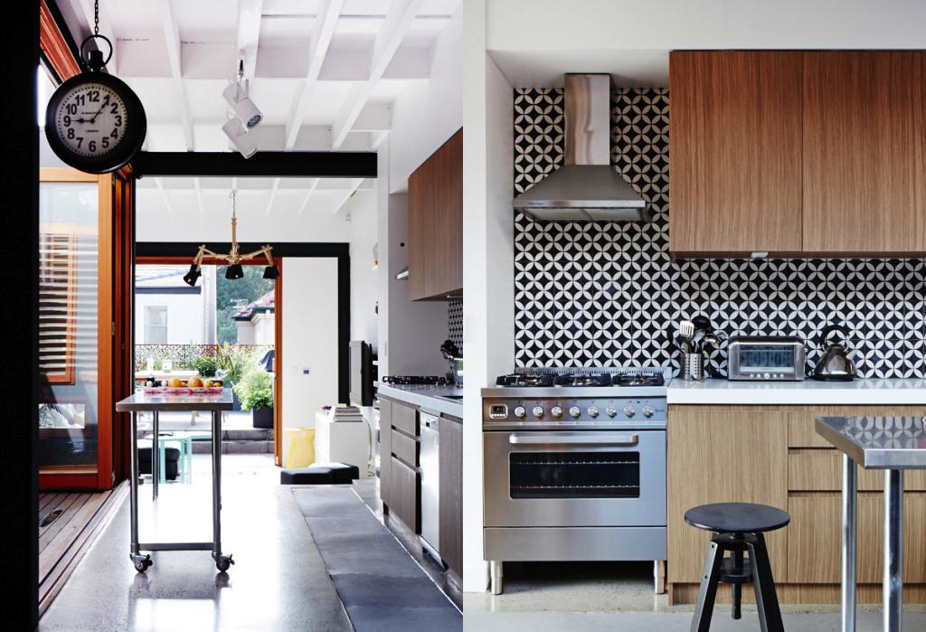 sydney modern industrial tile kitchen dining room