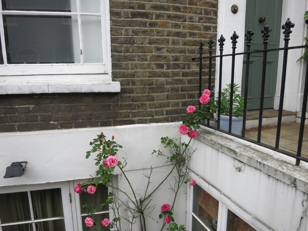 London vacation brick pink roses _ glitterinc.com