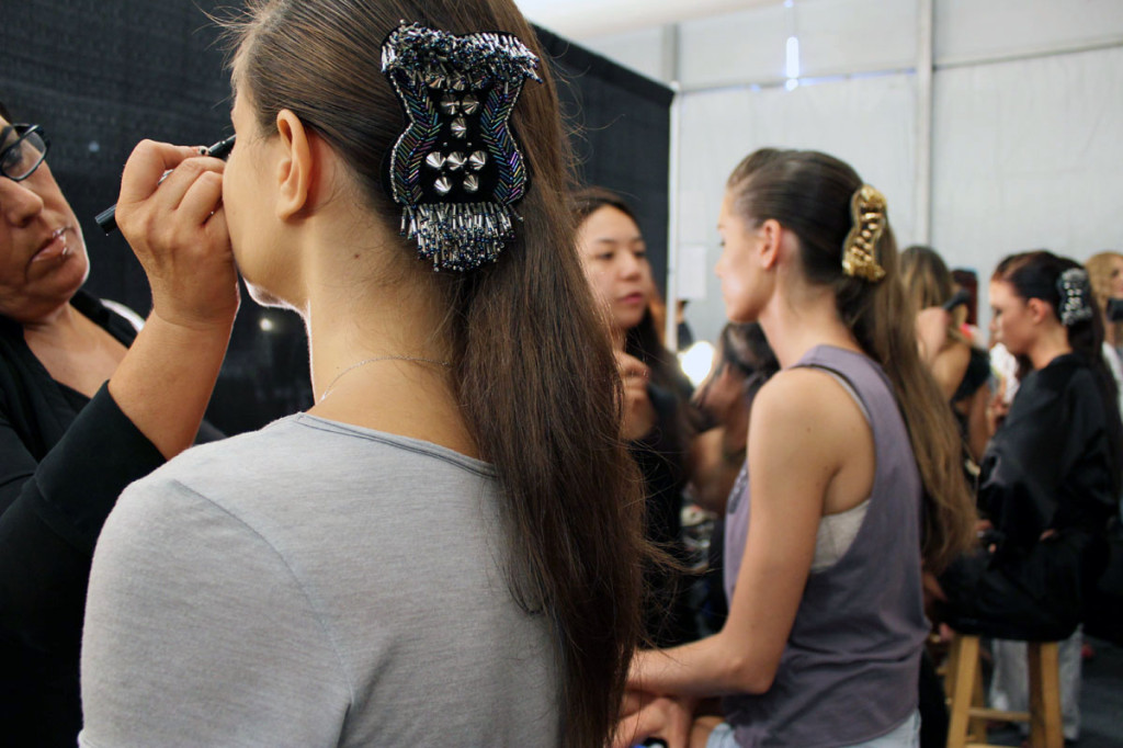 Miami Beach Fashion Week SWIM 2014 backstage har extensions clips