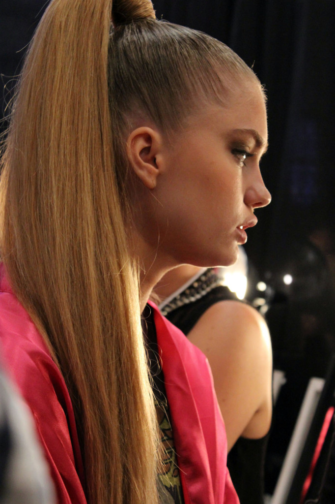 Miami Beach Fashion Week SWIM sleek high ponytail nude makeup beauty