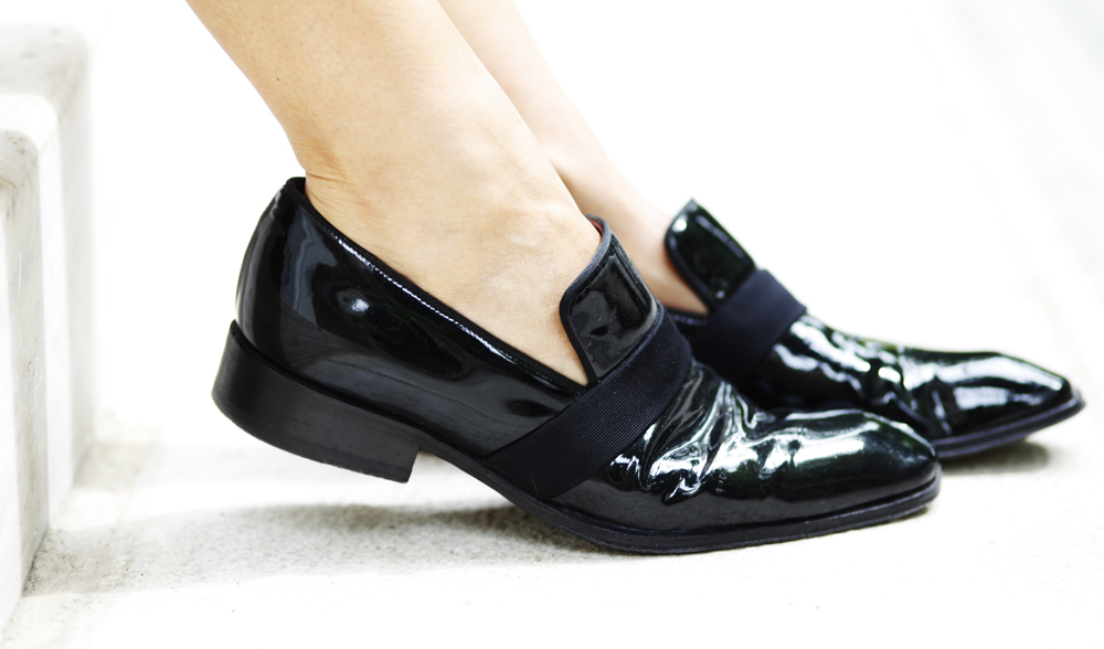 black patent menswear inspired loafers