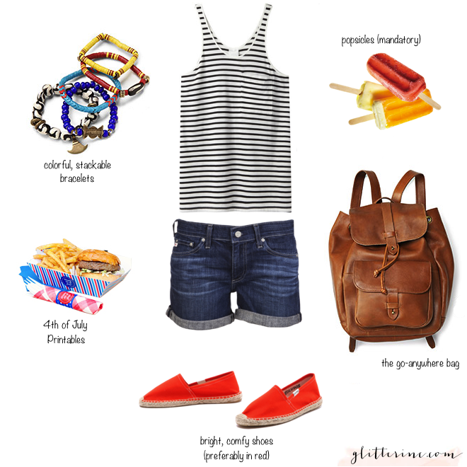 fourth of july bbq picnic weekend outfit popsicles boyfriend shorts backpack bracelets soludos printables _ glitterinc.com