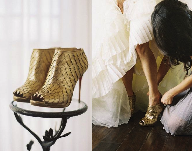 gold leaf wedding shoes boots booties _ glitterinc.com