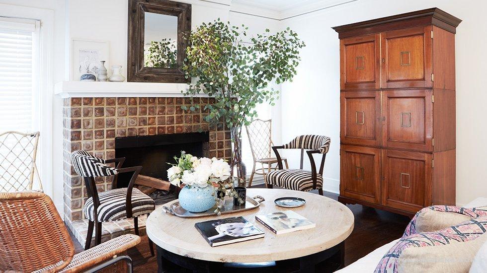 lea michele bungalow los angeles living room stripes