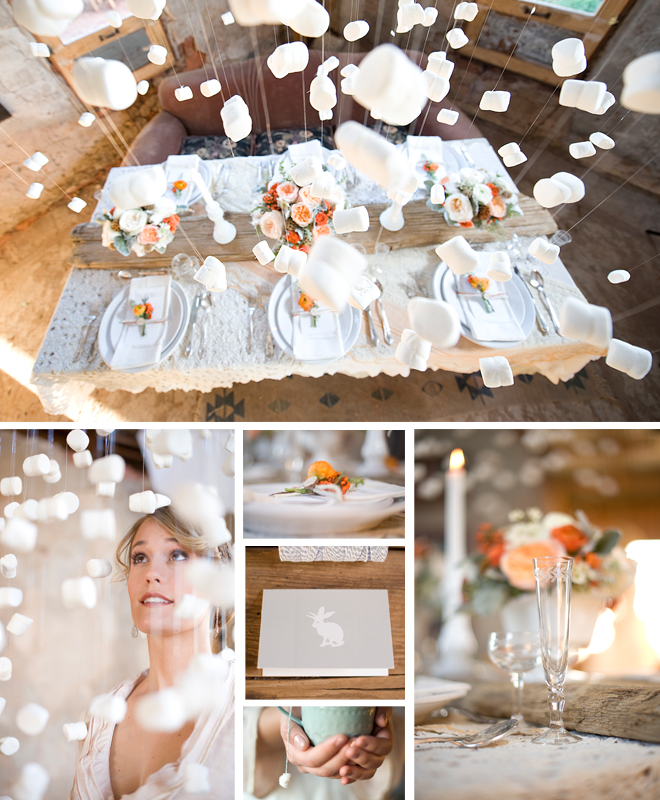 marshmallow garland wedding tablescape