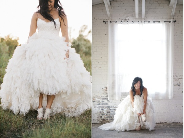 monique lhuillier dress and badgley mischka shoes feathers white wedding bride