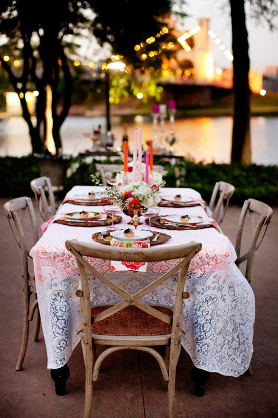 red white lace wedding tablescape