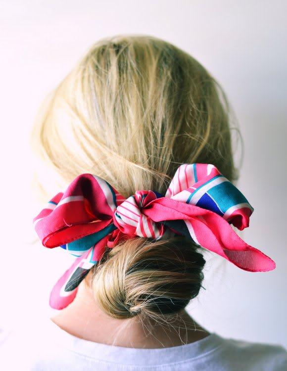 silk scarf hair bow bun