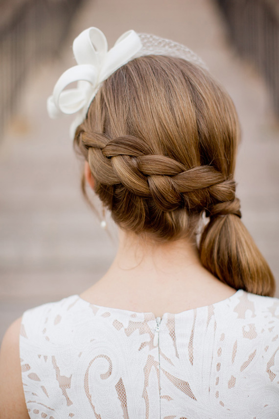 white lace wedding dress braided hair style