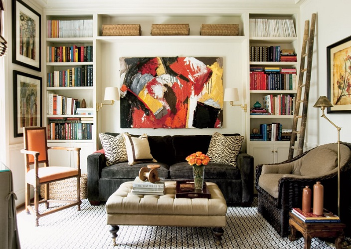 Courtney Giles Interiors via Atlanta Home mag zebra pillows living room
