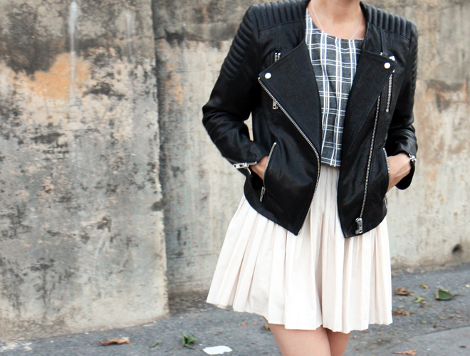 H&M leather biker moto jacket pleated skirt