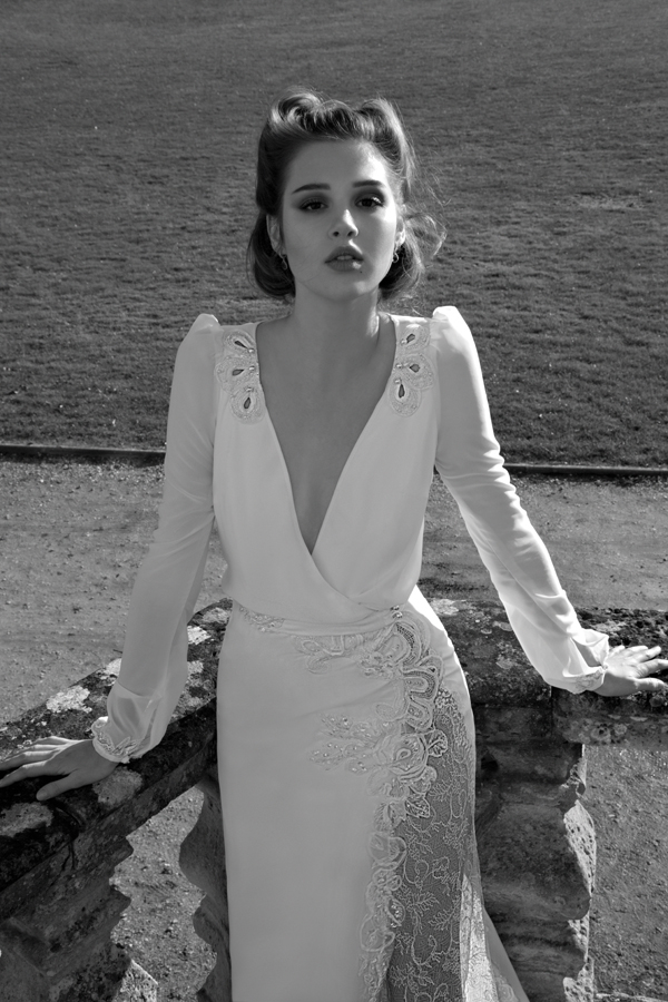 Inbal Dror Paris Collection wedding backless dress sleeves