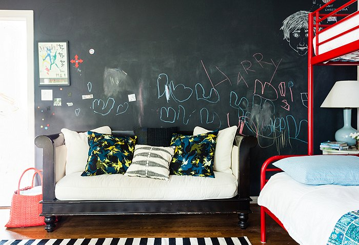 chalkboard wall Katie Tarses bohemian design Spanish-Style Hollywood Hills Home