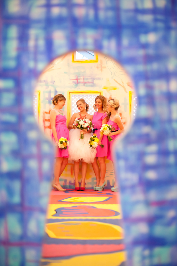 colorful pink bridesmaids short wedding dress-notwedding-san-diego-natalie-bray_25