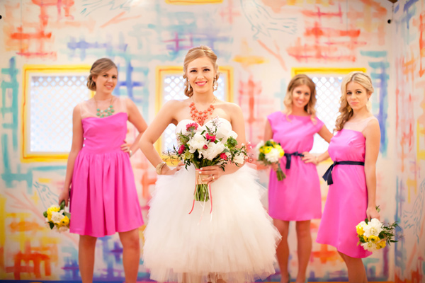 colorful pink bridesmaids short wedding dress-san-diego-natalie-bray_26
