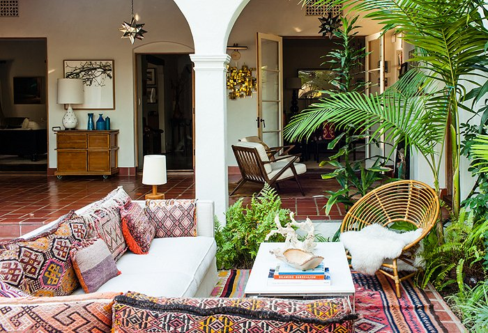 deck porch outside Katie Tarses bohemian design Spanish-Style Hollywood Hills Home