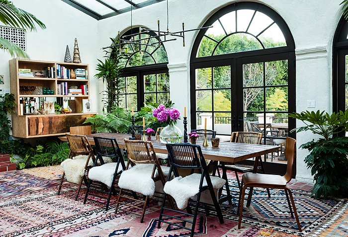 dining room rug Katie Tarses bohemian design Spanish-Style Hollywood Hills Home