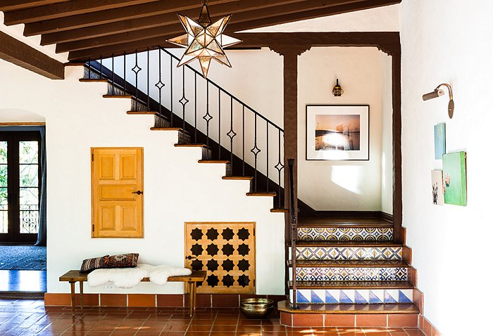 entry Katie Tarses bohemian design Spanish-Style Hollywood Hills Home