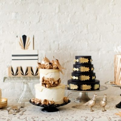 Gold + Black Wedding Cakes