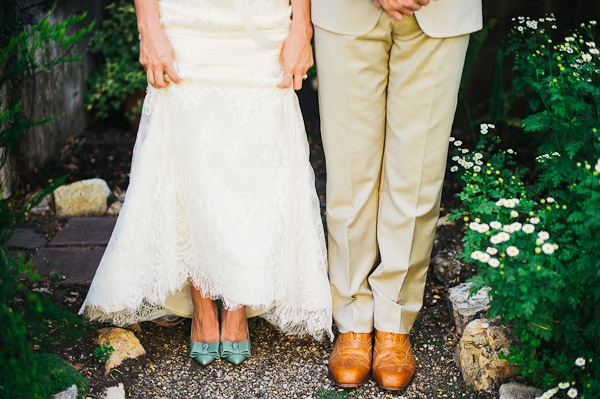 lace wedding dress j.crew seafoam green bow heels pumps bride