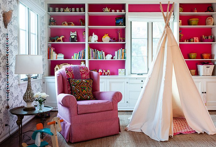 pink nursery kids room girl Katie Tarses bohemian design Spanish-Style Hollywood Hills Home